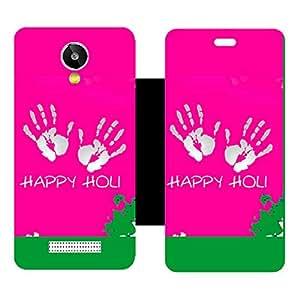 Skintice Designer Flip Cover with Vinyl wrap-around for Lava iris X1 selfie , Design - Happy Holi