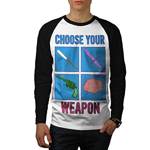 choisir-votre-arme-mortel-pistolet-homme-nouveau-blanc-avec-manches-noires-xl-base-ball-manche-longu
