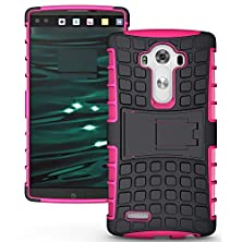 buy Lg V10 Case,Nancy Shop Ultra Hybrid Fit Rugged Armor Resilient Rugged Armor Shock Absorption Impact Ultimate Protection Rubber Bumper Protective And Kickstand Design For Lg V10 (2015) (Hot Pink)