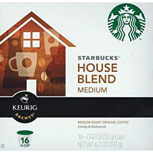 Starbucks House Blend Medium Roast, K-Cup Portion Pack for Keurig K-Cup Brewers, 16-Count