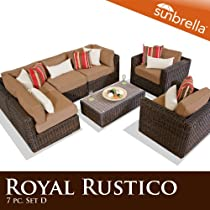 Hot Sale Royal Rustico 7 Piece Outdoor Wicker Patio Furniture Set 07D - Camel Sunbrella