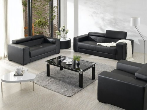 Enjoyable 2909 Black Bonded Leather Living Room Sofa Set With Pabps2019 Chair Design Images Pabps2019Com