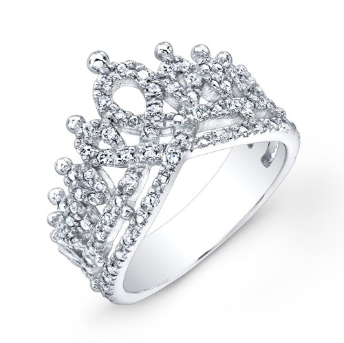 Victoria Kay 1/6ct White Diamond Crown Ring in Sterling Silver, Size 7