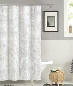 Max Studio Shower Curtain Greek Key Gray And