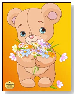 Teddy Bear With Flowers Notebook - Adorable stuffed teddy bear with an armful of wildflowers makes such a cute cover for this blank unlined notebook.