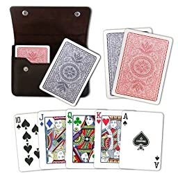 Copag 4-Color Poker Size Regular Index Playing Cards in Leather Case