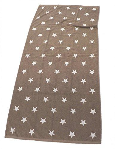 XXL LASA STRANDTUCH 85x200cm STERNE HANDTUCH 6 FARBEN AUSWAHL BAUMWOLLE FROTTIER, Farbe:Taupe