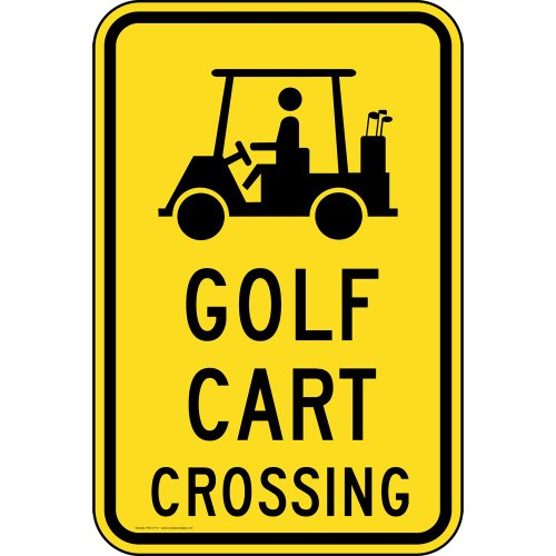 ComplianceSigns Aluminum Recreation sign, Reflective 18 x 12 in. with Golf info in English, Yellow