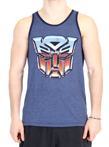 Transformers Vintage Distressed Autobots Logo Heather Navy Tank Top