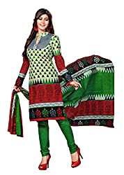Aarti Apparels Women's Cotton Unstitched Dress Material _MAHARANI-05_White and Green