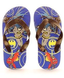Batman & Robin Toddler Boys Flip Flops Thongs Sandals Blue 5/6-9/10