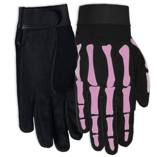 Hot Leathers Women's Pink Skeleton Mechanic Gloves (Black, Small)