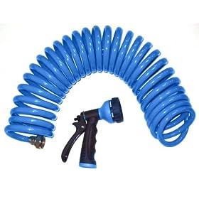 Orbit 25-Foot Blue Coil Hose & Spray Nozzle 27890