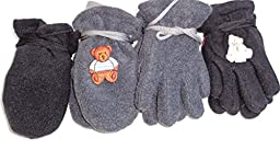 Four Pairs Fleece Mittens and Gloves for Infants Ages 6 Month to 2 Years