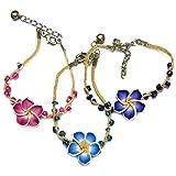 Via Mazzini Flower Raffia String Bracelets (Set Of 3)