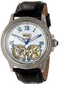 Ingersoll IN1818WH - Reloj analógico automático para hombre, correa de cuero color negro