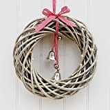 Round Wicker Wreath With LED Lights Xmas Decoration