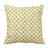 【Koana Shop】ギリシャの幾何学的なパターンマスタードの黄色および白 クッションカバー45×45 綿製 おしゃれ 車用クッション ホーム インテリアー 雑貨