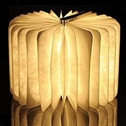 SinoPro Wooden LED Folding (0°-360°) Dupont Paper Book Lamp Nightlight 500lm USB 2500 mAh Lithium Battery Rechargeable, Portable Creative Decoration Led Table Lamp (Warm White)