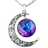 Tricess Womens Galaxy Necklace Hollow Out Crescent with Blue Purple Star Galactic Cosmic Moon Charm Necklace Gift