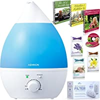 Cool Mist Humidifier - Whisper-Quiet with 7 Color LED Lights For Your Home, Office, Bedroom, Baby Room - Ultrasonic Humidifier Comes With 3 Extra Filters + Bonuses