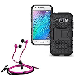 Hard Dual Tough Military Grade Defender Series Bumper back case with Flip Kick Stand for Samsung 7102 + Stylish zipper hand free for all smart phones by Carla Store