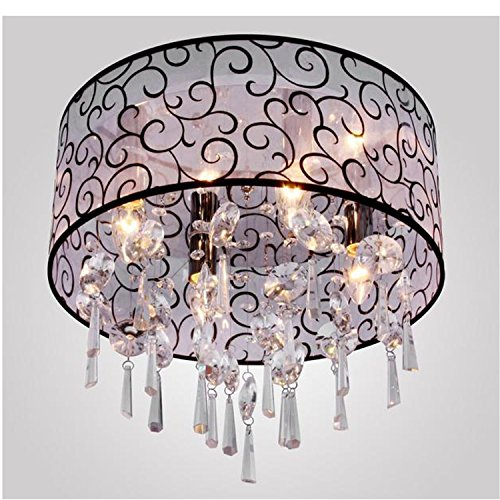 Masione™ Elegant Transparent Crystal Chandelier With 4 Lights, Drum Flush Mount Modern Ceiling Light Fixture For Bedroom, Living Room front-498525