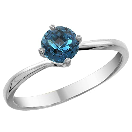 Revoni 14ct White Gold Natural London Blue Topaz Solitaire Ring Round 6mm