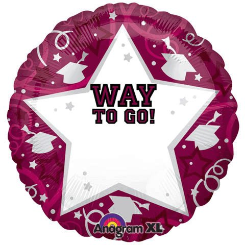 Graduation Burgundy Personalized 22in Balloon