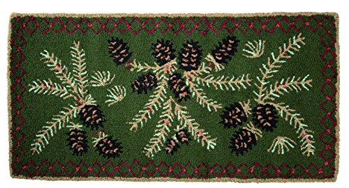 Fire-Resistant Hooked Wool Pine Cone Hearth Rug