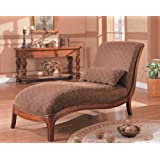 Soho Collection Armless Chaise Lounger Chair with Accent Pillow ~ AtHomeMart