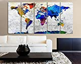 TANDA Extra Large Canvas Colorful Shadowy World Map on White Brick Wall Background 5 Panel Large Wall Art 80 Inch Total