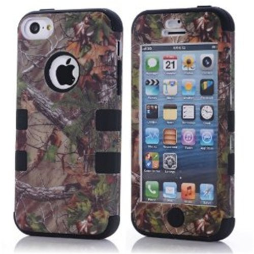 KINGCO 3-Piece Real Tree Camouflage Camo Design Hybrid High Impact Protective Case Combo for Apple iPhone 5C Black
