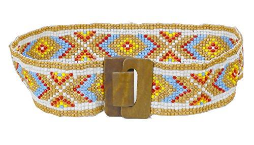 Modeway Brand High Quality Muticolor Beaded Women Belt, Wood Buckle Luxury designers Wide Waist Belts (S-M,Brown)E1-2