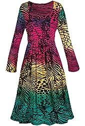 Women's Butterfly Wings Long Sleeve Tie-Dye Dress