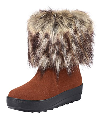 Guciheaven Winter Cute Girl Leather To Keep Warm Snow Boot(8.5 B(M)Us, Coffee)