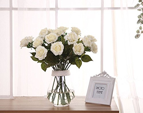 Leegoal(TM) Wholesale Artificial Silk Latex Rose Flowers Wedding Bouquet Bridal Decoration Bundles Real Touch Flower Bouquets Realistic Flower Bouquet(White,10Pcs)