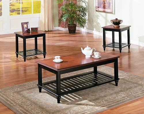 3 Pc Set Solid Wood Coffee Table With 2 End Tables With Shelf In