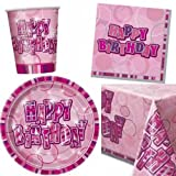 Pink Glitz Party Tableware pack for 8 - 8 cups, 8 plates, 16 napkins, 1 tablecover