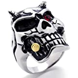 KONOV Jewelry Stainless Steel Gothic Biker Men's Ring