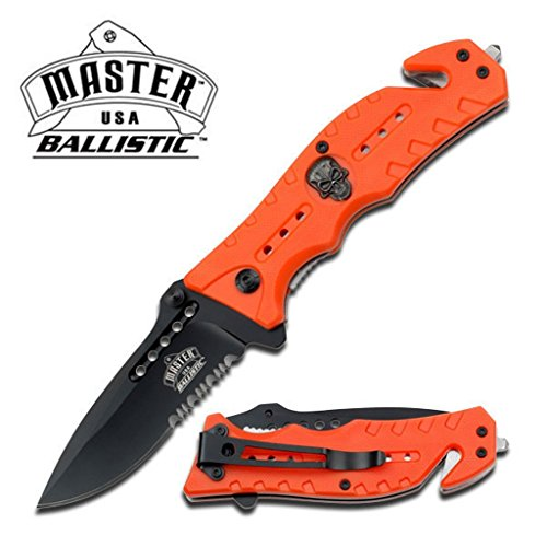 Brand New Ghost Rider Stainless Steel Blade Tactical Rescue Quick Open Pocket Design Folding Knife (Orange)