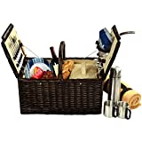 Picnic at Ascot Surrey Picnic Basket for 2 with Blanket and Coffee, Brown Wicker/Blue Stripe