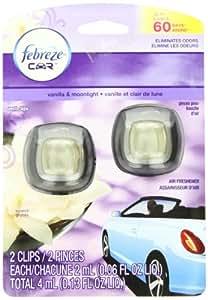 Febreze Car Vent Clips Air Freshener, Vanilla and Moonlight, 2 Count