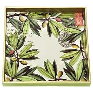 Amazon.com: Michel Design Works Square Wooden Tray, Olive Grove, 12-1