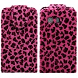 Wayzon Organic PU Leather Flip Case Cover Skin Pouch Shell Holster Built In Hard Plastic Holder Housing Pink Furry Leopard Design For Samsung Galaxy Y S5360 Phone
