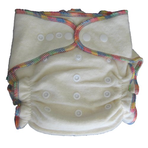 Night Fitted Cloth Diaper With 2 Inserts One-Size 7-30 Lb - Hemp /Organic Cotton