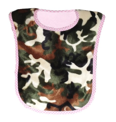 Patricia Ann Designs Camouflage Reversible Bib, Pink Fleece And Pink Check Trim front-59831