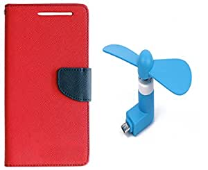 Novo Style Book Style Folio Wallet Case Micromax Canvas Knight A350 Red + Smallest Mobile Fan Android Smart Phone