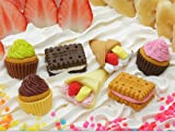 7 Pc Japanese Erasers - 3 Cup Cakes, 2 Biscuits, and 2 Crepes