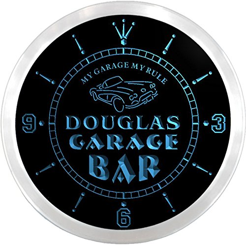 Ncpp0045-B Douglas Garage Car Repairs Rule Beer Bar Led Neon Sign Wall Clock